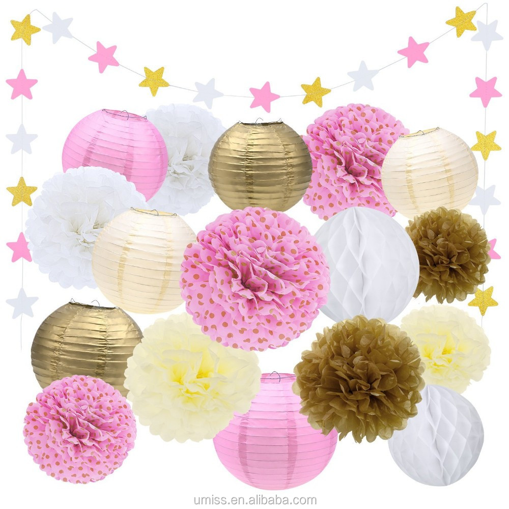 Birthday party backdrop tissue paper pom poms product on alibaba com - Tissue Paper Pom Poms Flowers Paper Lanterns Star Garland Hanging Flower Balls Gold Ivory Pink Party