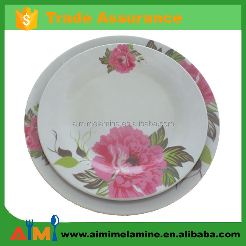Melamine household ware A5 melamine dining plate with rose design