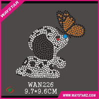 New Cute Dog And Butterfly Iron On Rhinestone Transfer Design For Scarfs