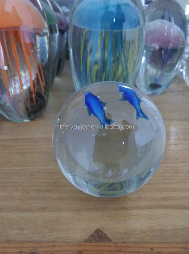 Luminous+Dolphin Glass Sphere+Crystal Ball+Paperweight