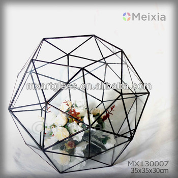 MX130007 wholesale tiffany style glass flower vase for wedding decoration