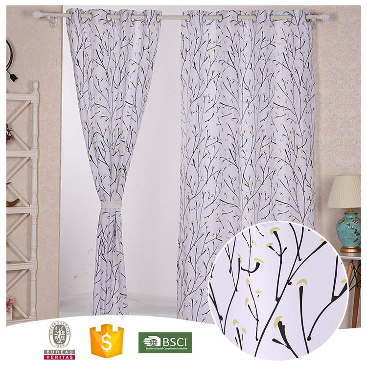 Newest Design Useful Floral metal ring blackout window curtain