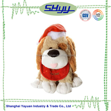 Fantastic cute dog with Christmas Hat plush toy made in china