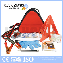 2017 New Arrival KF300 Promotional Deluxe Triangle Safety Kit Nylon Fabric Emergency Car Accident First Aid Kit