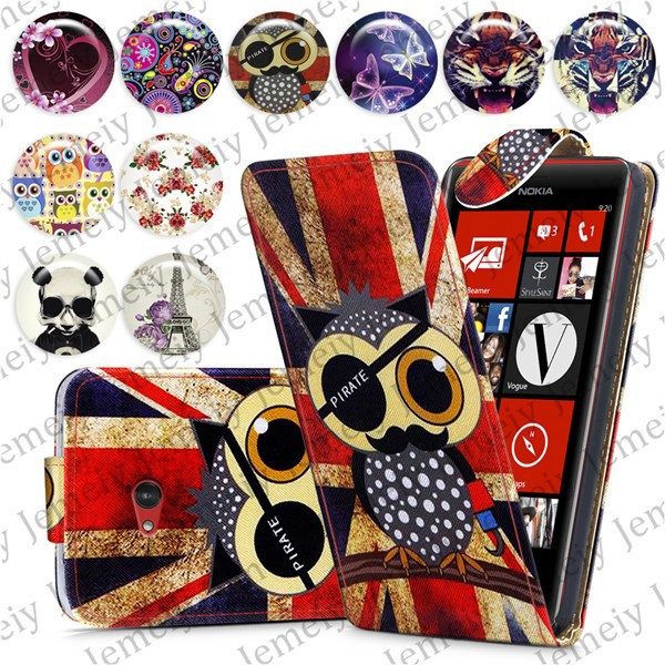 Fashion Patterns Printed Magnetic Top Flip PU Leather Case Card Holder Wallet Phone Cover Skin For Nokia Lumia 720