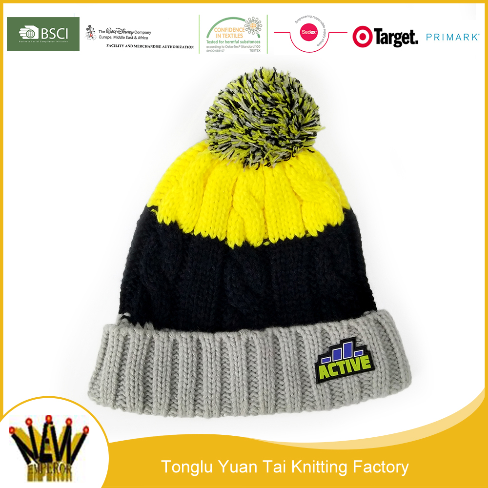 Lovely yellow black and grey acrylic knitting patterns beanie hat