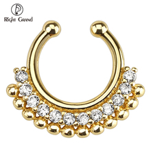 Wholesale Gold Plated Non Piercing Septum Clicker 316L Stainless Steel Fake Nose Ring