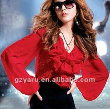 blouses for women 2012 of summer with long sleeves new office silk rhinestone