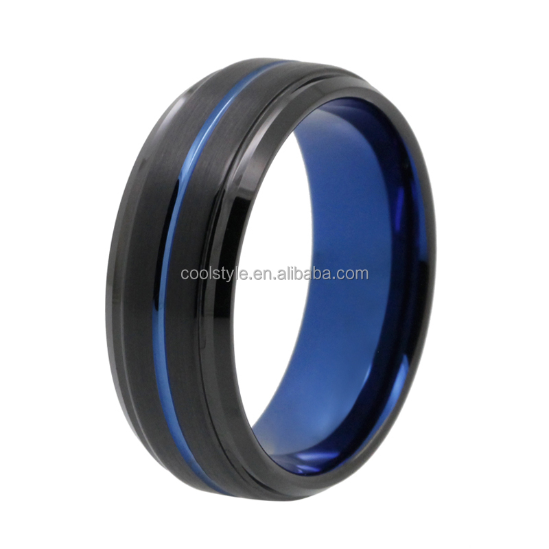 Stepped & beveled edges black blue tungsten carbide engagement wedding ring