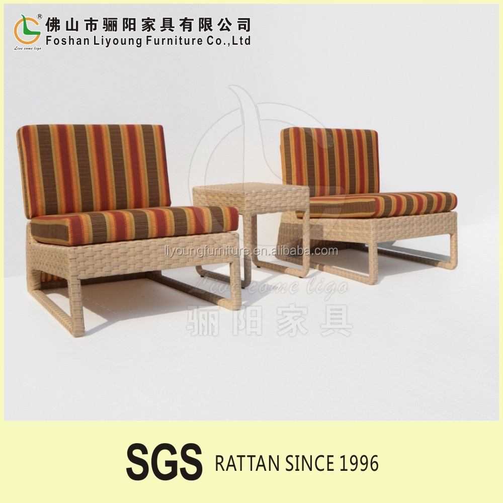 waterproof UV resistant pario furnitures Alum Frame Cheap Rattan garden sofas double single seats wicker sofa set