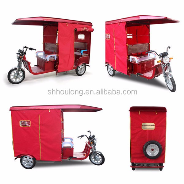 Open body electric tricycle 3 wheels for 4 passenger