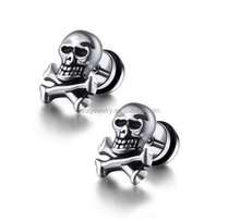 SSE081206 China Alibaba Stainless Steel Skull Earring for Men Unique Designs Jewelry