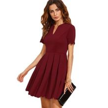 New Model Hot Sale Fashion V Neck Short Sleeve Casual Sexy Lady Summer Work Dresses For Women
