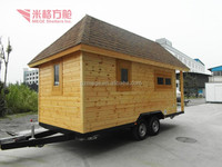 Luxury portable wood RV/trailer car with mini bathroom and double beds