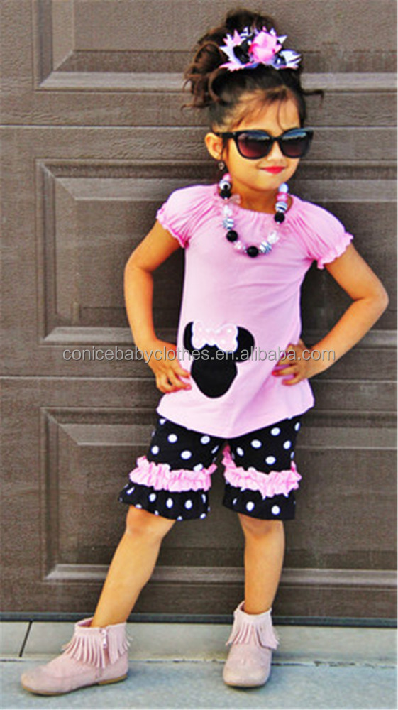 childrens girls cotton icing shorts black mouse outfits summer boutique clothing