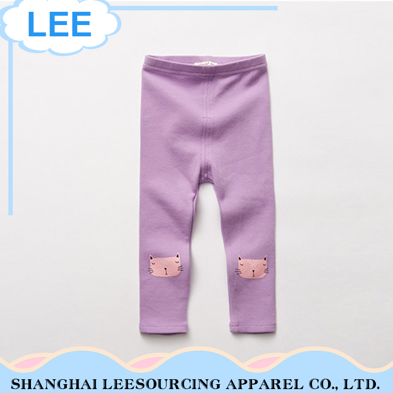 100% cotton solid color legging children pants trousers for kids baby