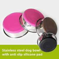 2018 Wholesale Kennel Stainless Steel Travel Dog Bowl Large Capacity Bowl with anti-slip Silicone Pad