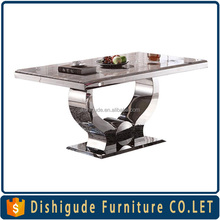 Acrylic rectangle stainless steel hotel & restaurant dining table and chairs