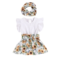 Wholesale Boutique Children's Clothing Flutter Sleeve Girls Sunflower Dress