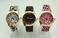 moq 20pcs freeshipping 2014 new fashion leopard geneva silicone jelly watch