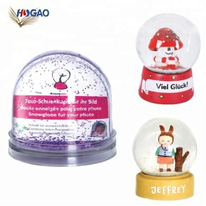 9*9*8.5cm Wholesale OEM gift idea Acrylic photo frame picture insert water globe snow globe