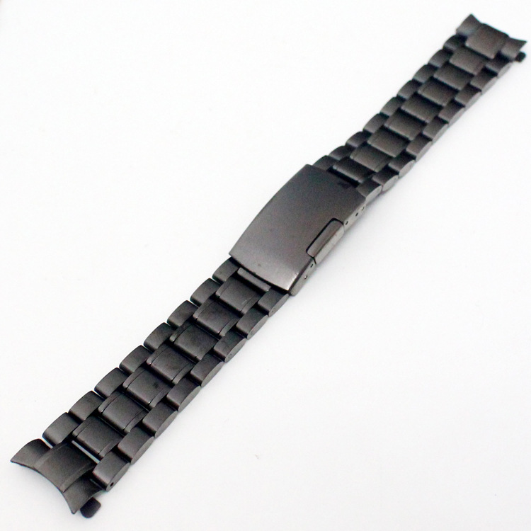 Watch Accessories Solid Black Strap Steel Strip All Steel Bracelet Watches Bracelet Clasp 18mm/20mm/22mm Watch Band