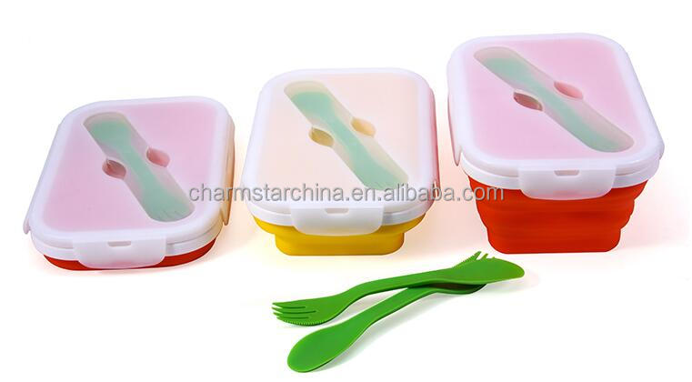 100% food grade silicone foldable 1-compartment lunch container easily carry food box with fork and spoon
