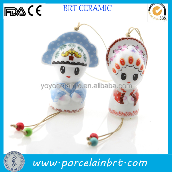 Ceramic wind chime bride and groom 2014 christmas gift wholesale