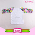 Wholesale Womens Floral Raglan Shirts 3/4 Sleeve Mommy And Me Raglan Shirts Boutique Cotton Icing Ruffle Raglan Floral T Shirt