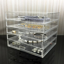 Wholesale Multi-purpose Acrylic Cosmetic Jewelry Storage Box,Deluxe Transparent 5 Drawers Acrylic Makeup Organizer With Handle