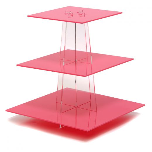 Clear square 2-4 tiers acrylic cupcake stand/ pink plexiglass wedding cake diplay stands/perspex cupcake stands