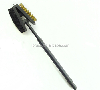 factory selling plastic handle steel wire triangular barbecue brush