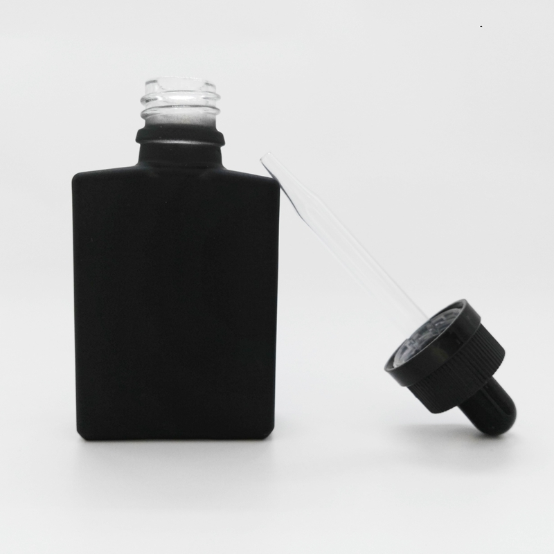 dropper sealing type 30ml rectangular frosted/matte black glass e liquid <strong>bottle</strong> with child&tamper proof cap and glass pipette