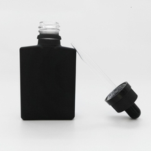 dropper sealing type 30ml rectangular frosted/matte black glass e liquid bottle with child&tamper proof cap and glass pipette