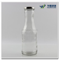 High quality 330ml glass salad dressing bottles with metal lid wholesale