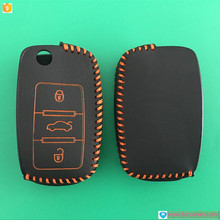 Top quality car key covers for VW 3 button leather car key case