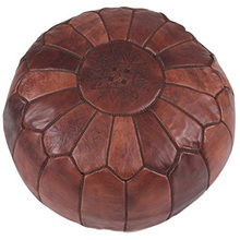 Taidian brand Footstool poufs Stuffed Brown Moroccan foot rest ottoman Leather Pouf Ottoman