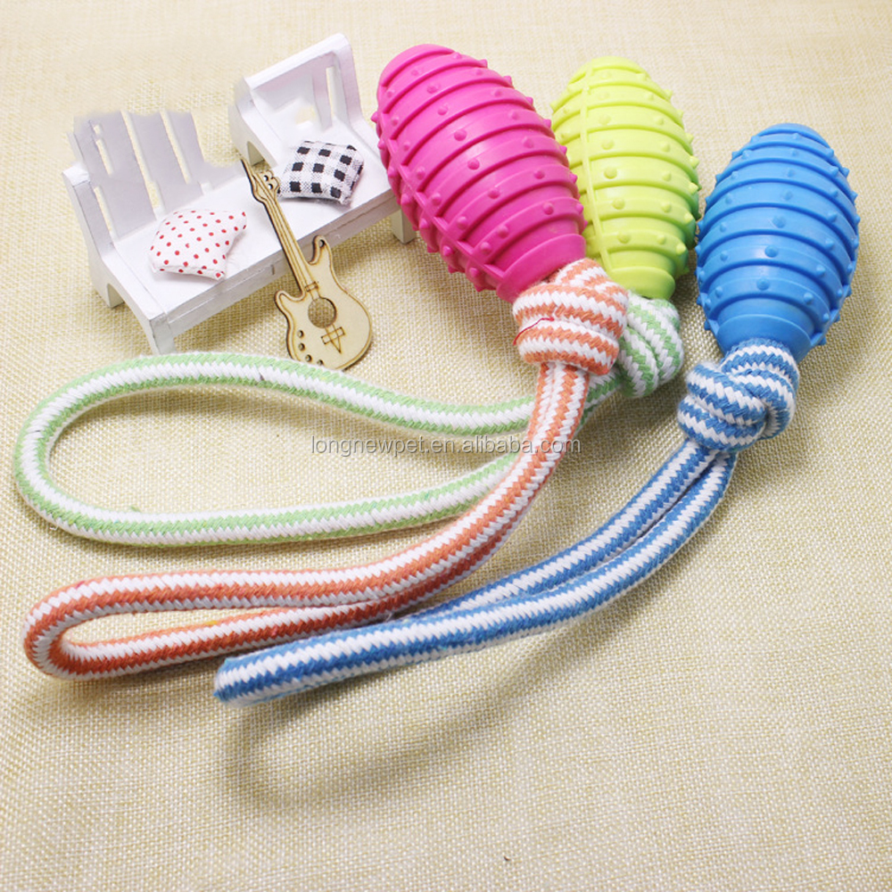TPR Dog Play Ball Rubber Tough Dog Bite Toy Cotton Rope Tug Pets Toys