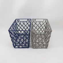Manufacturer hand weaving paper string gift storage baskets sundries hollow mesh bin