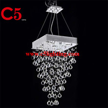 Conical shape crystal ball hanging locker chandelier
