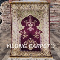 Yilong 2'x3' traditional handknotted mosque silk rug turkish prayer rug
