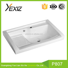 P807 China bathroom durable ceramic with washboard cabinet basin
