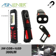 For Work, Inspection, Emergency, 2 Lightness Level Magnetic Work Torch 3W COB + 1 LED Handheld Work Light with Stand