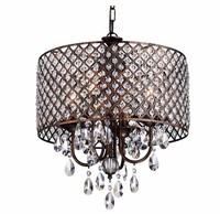 UL Approved Vintage Iron Crystal Glass Pendant Light for Home Decoration