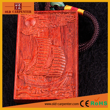 Latest Sailing Smoothly car hanging craft wooden mascot carving