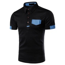 New Design High Quality 4 Buttons Fashion Pocket Joint Men's Short Sleeve Polo T Shirt