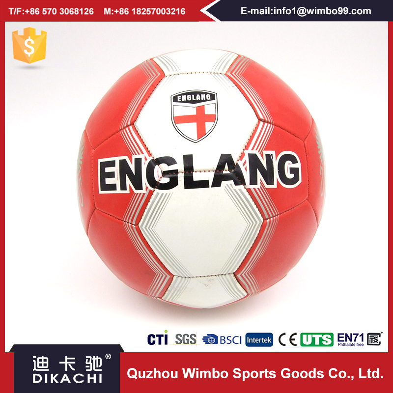 Official Size Standard Machine Stitched PVC Leather Soccer Ball On street