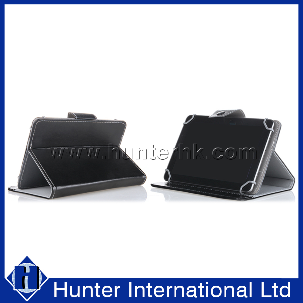 PC Clip Black Leather Universal Tablet Case For 8 Inch