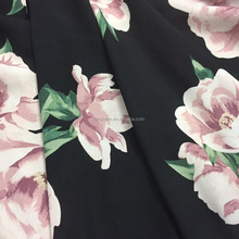 black crepe chiffon fabric printed big flowers for lady dress and shirt
