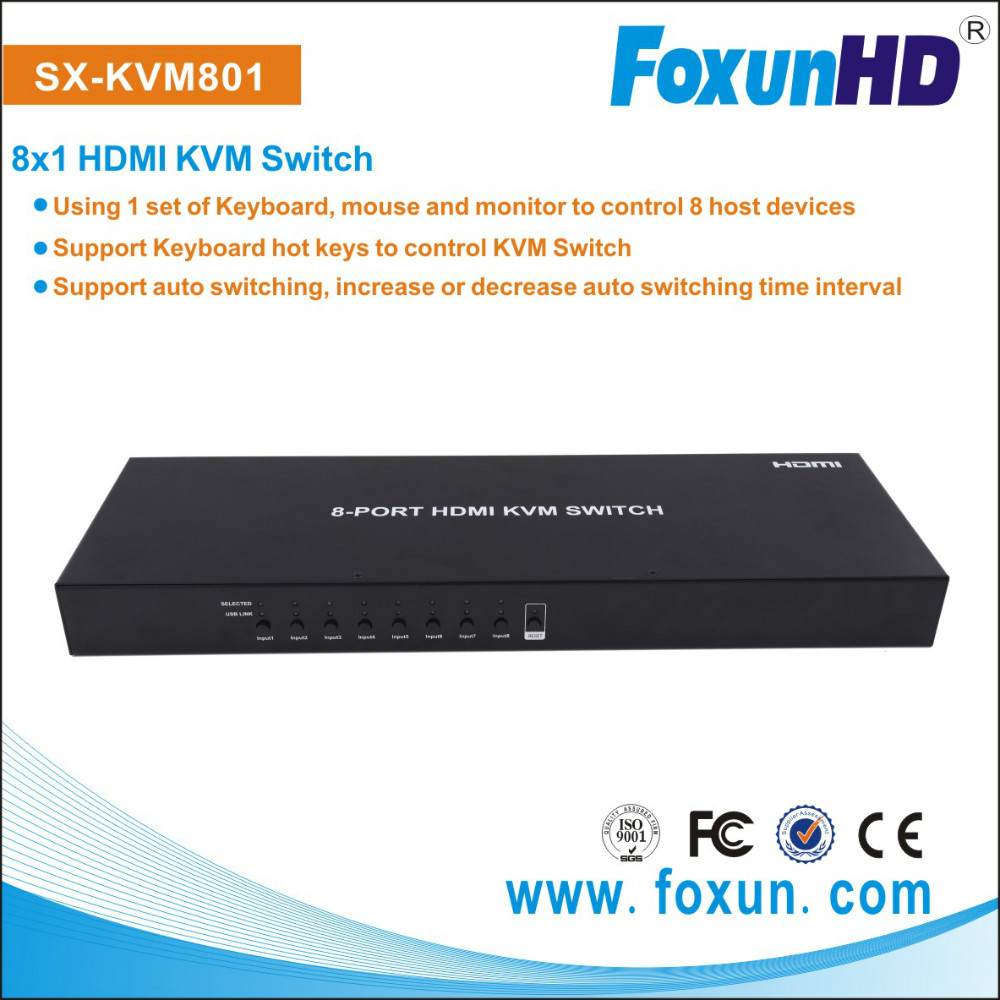 SHUNXUN SX-KVM801 8 Ports USB HDMI KVM Switch Box for Sharing PC Mouse Keyboard Monitor
